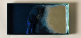 moving 2019 | objects in the miror are close B | mirror, ceramic, pigment  | 40 x 30 x 10